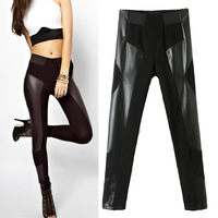 2017 New Cotton Black PU Pants Women Spliced Leather Pantalones Mujer Fashion High Waist Skinny Slim