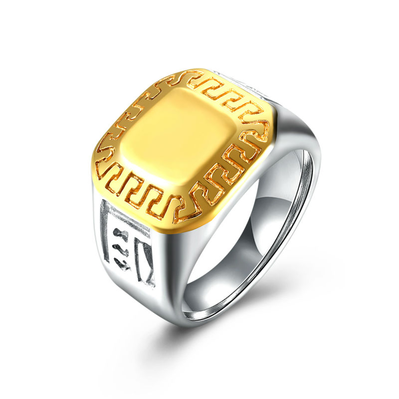Vintage 16MM Titanium Steel Vintage Yellow Gold Cover Square Wedding Band Biker Ring For Men 316L Stainless Steel Carter Ring