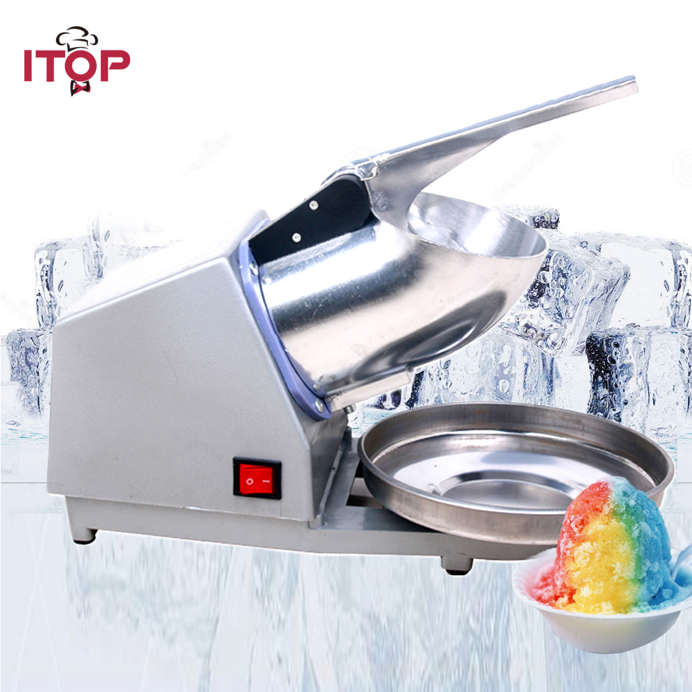 ITOP 110V 220V Stainless Steel Electric Ice Shaver Manual Ice Crusher Machine Snow Cone Maker jiqi electric ice crusher shaver snow cone ice block making machine household commercial ice slush sand maker ice tea shop eu us