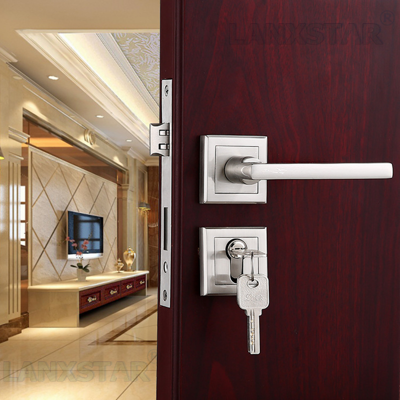 High Strength Build Zinc Alloy Split Lock Nickel Wire Drawing Safety Lockset Manufacturers Supply Indoor Locks Room Door-lock