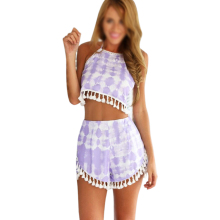 2 piece set women tropical clothing vestidos short backless beach party summer