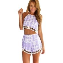 2 piece set women tropical clothing vestidos short backless beach party summer