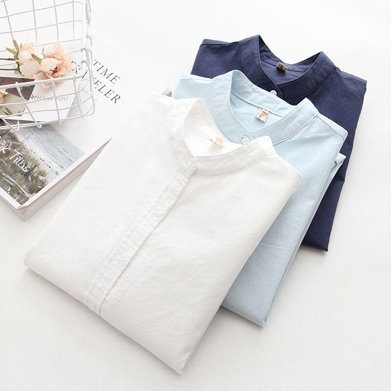 De manga larga blanco azul Oxford para mujer Camisas tamaño 2018 nuevo de mujer Casual blusa de oficina mujer ropa de alta calidad para señoras tops