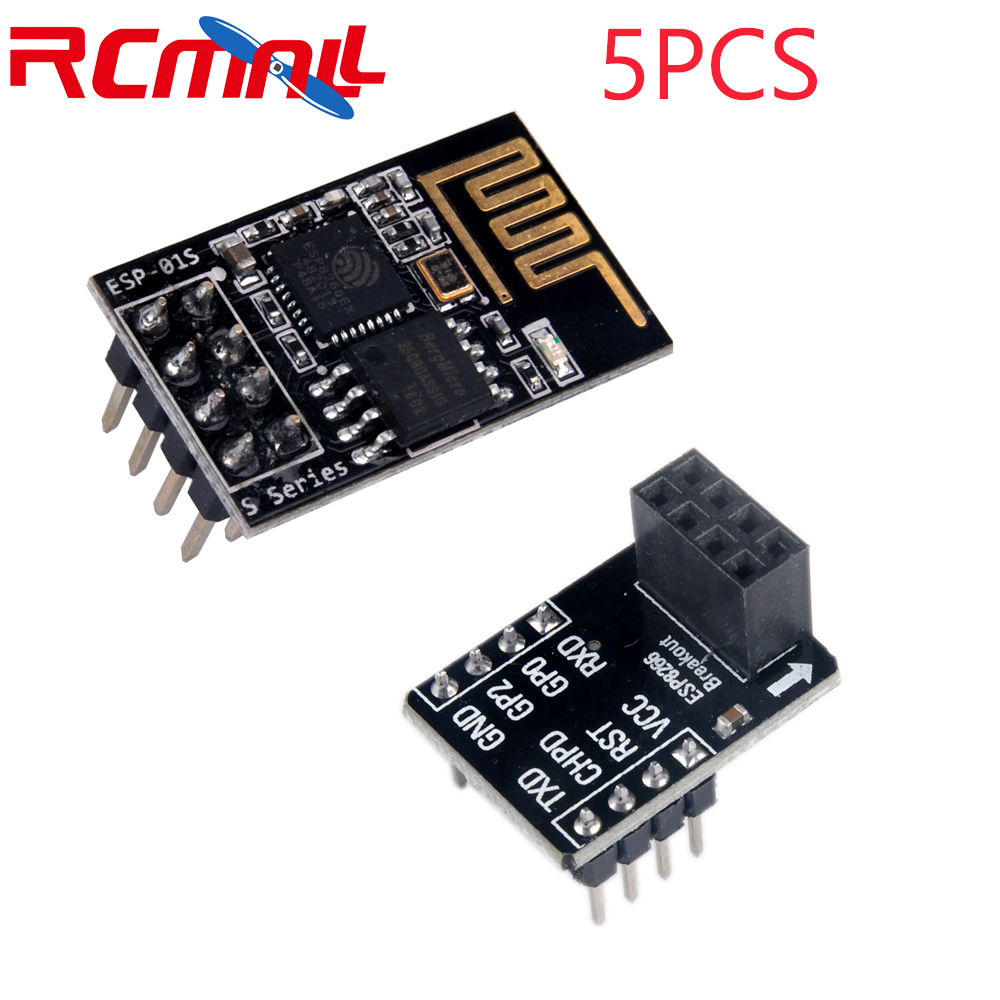 5Pcs ESP8266 ESP-01S Serial WIFI Wireless Transceiver Module / ESP-01 Breakout Board Breadboard Adapter PCB FZ2400 FZ2178