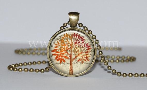 Steampunk handmade Movie Tree of life Pendant,orange 1pcs/lot bronze or silver Glass Pendant jewelry