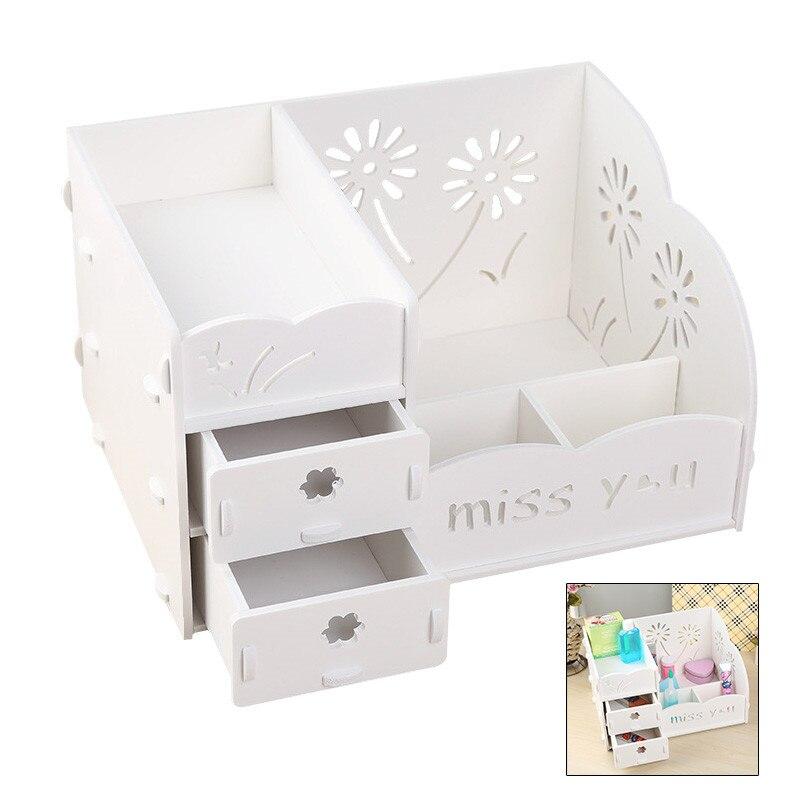 Coffret à bijoux à compartiments en bois blanc armoires à tiroirs pour petits objets pratique détachable bricolage boîte de rangement de bureau