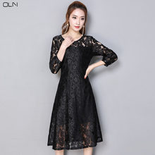 OLN Evening Party Dress Plus Large Size Lace Dress Puffy Woman Fat Long  Sleeve O Neck ab381f2519c0