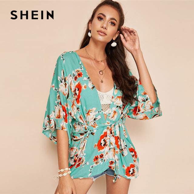 b48589638e SHEIN Green Boho Botanical Floral Print Belted Knot Longline Kimono Summer  Beach Women Vacation Casual Half