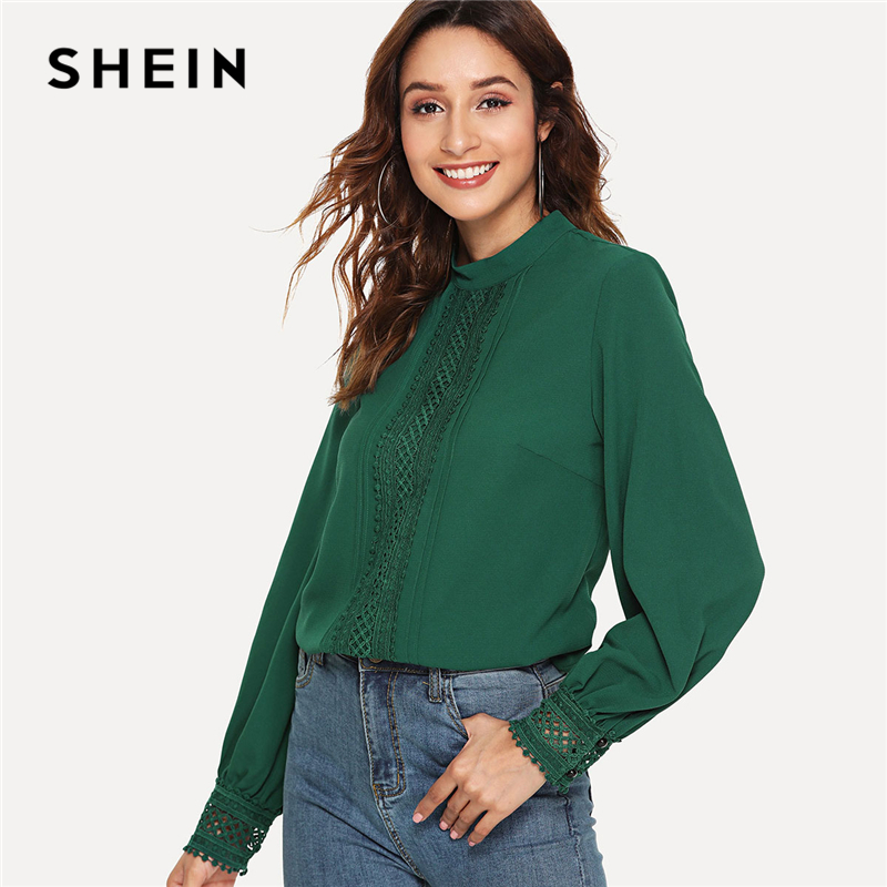 SHEIN Green Elegant Workwear Office Lady Mock Neck Lace Trim Stand Collar Long Sleeve Solid Blouse Autumn Women Casual Shirt Top