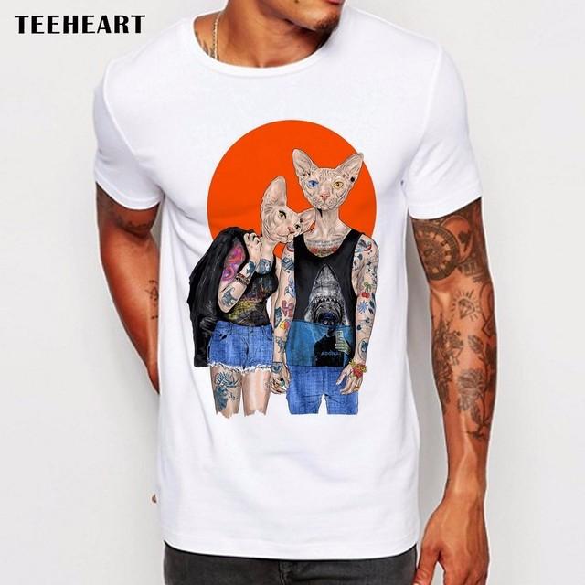 f07cfdf4 Newest Fashion Cool Hipster Sphinx Cat Printed T-Shirt Summer Trendy Mens  Tattoo Cat Design Short Sleeve Tee Tops Clothing