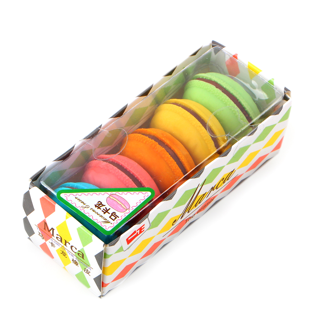 5Pcs/box Cute Macaron Cake Rubber Eraser Color For Kids Funny Stationery Material Escolar School Supplies