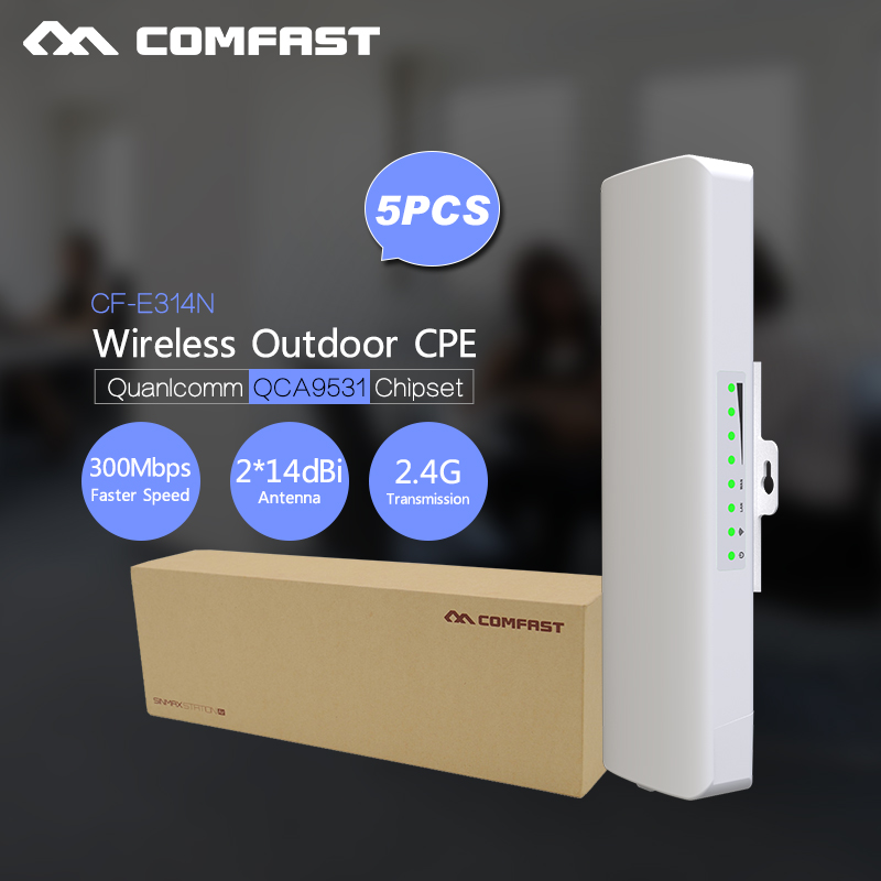 2-5Pcs, COMFAST CF-E314N Wireless Outdoor Antenna Dual 14 dbi WIFI Access Point CPE WIFI Router Long Range 300Mbps 2.4 g Bridge