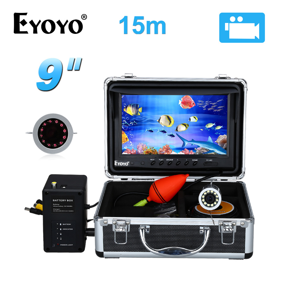 EYOYO 9 Video Fish Finder HD 1000TVL 15M Full Silver Invisible Fishing Camera Under Water Video Recording DVR 8GB Infrared LED