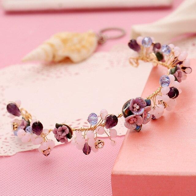 Ручной имитация перл ceremic цветок tiara повязка мода горный хрусталь невеста корона свадебные украшения для волос