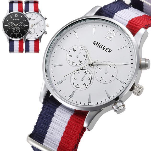 Luxury Fashion Canvas Mens Analog Watch Wrist Watches  Men