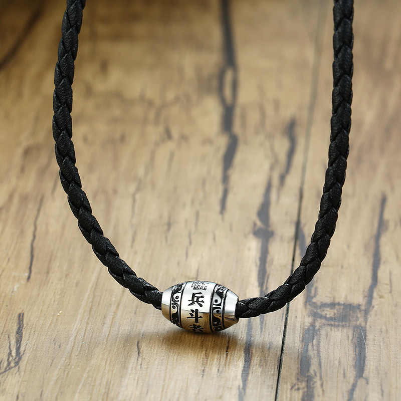 "Men's Necklace 9 words Buddha Mantra Lucky Beads Stainless Steel Charm Pendant with Black Braided Rope Male Jewelry 20"" Chain"