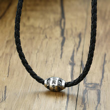 "Men's Necklace 9 words Buddha Mantra Lucky Beads Stainless Steel Charm Pendant with Black Braided Rope Male Jewelry 20"" Chain(China)"