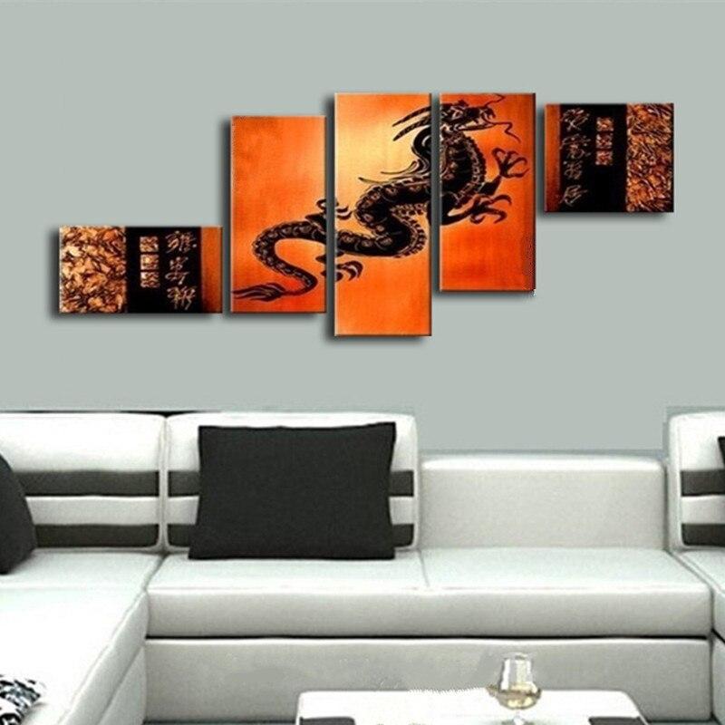 Grand Dragon chinois photos peint à la main abstraite dessin animé peintures à l'huile sur toile 5 panneau peinture murale moderne décor à la maison Arts
