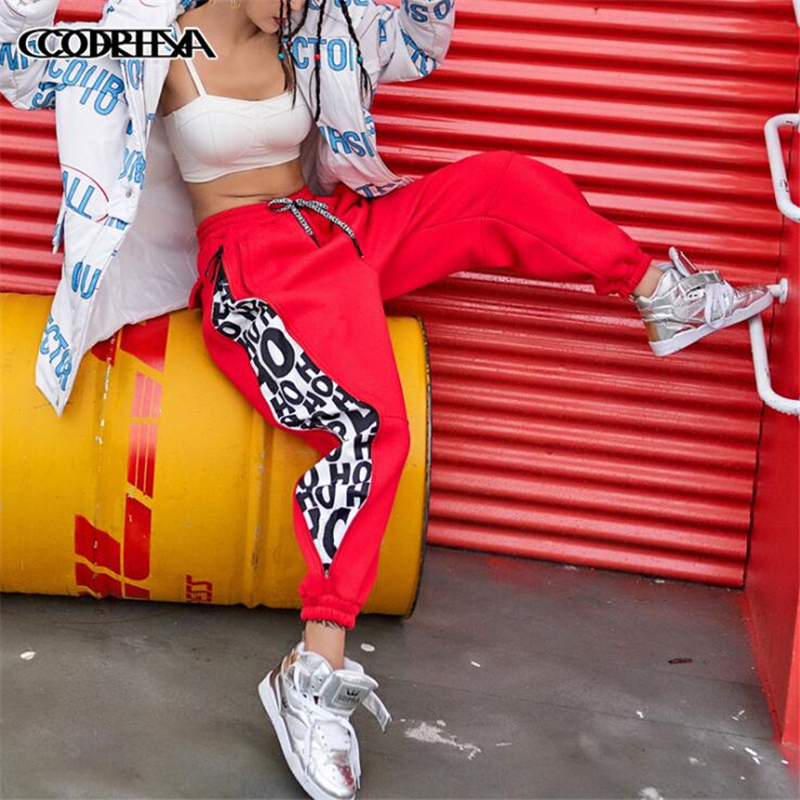 Streetwear Women Hip Hop Pants Winter New Side Zipper Letter Print Cotton Casual Loose Full Length Sporting Pants Stage Trousers