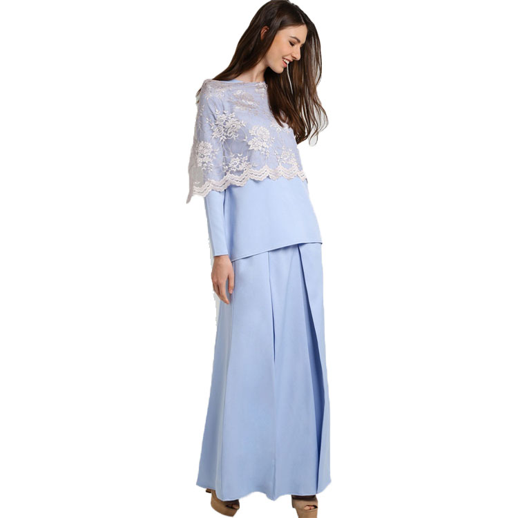 Advanced Customization Wholesale Middle East Pastel Blue Long Sleeves  Pleated Design Muslim Clothing Baju Kurung with Lace Dress-in Dresses from  Women s ... 7157e232cd9a