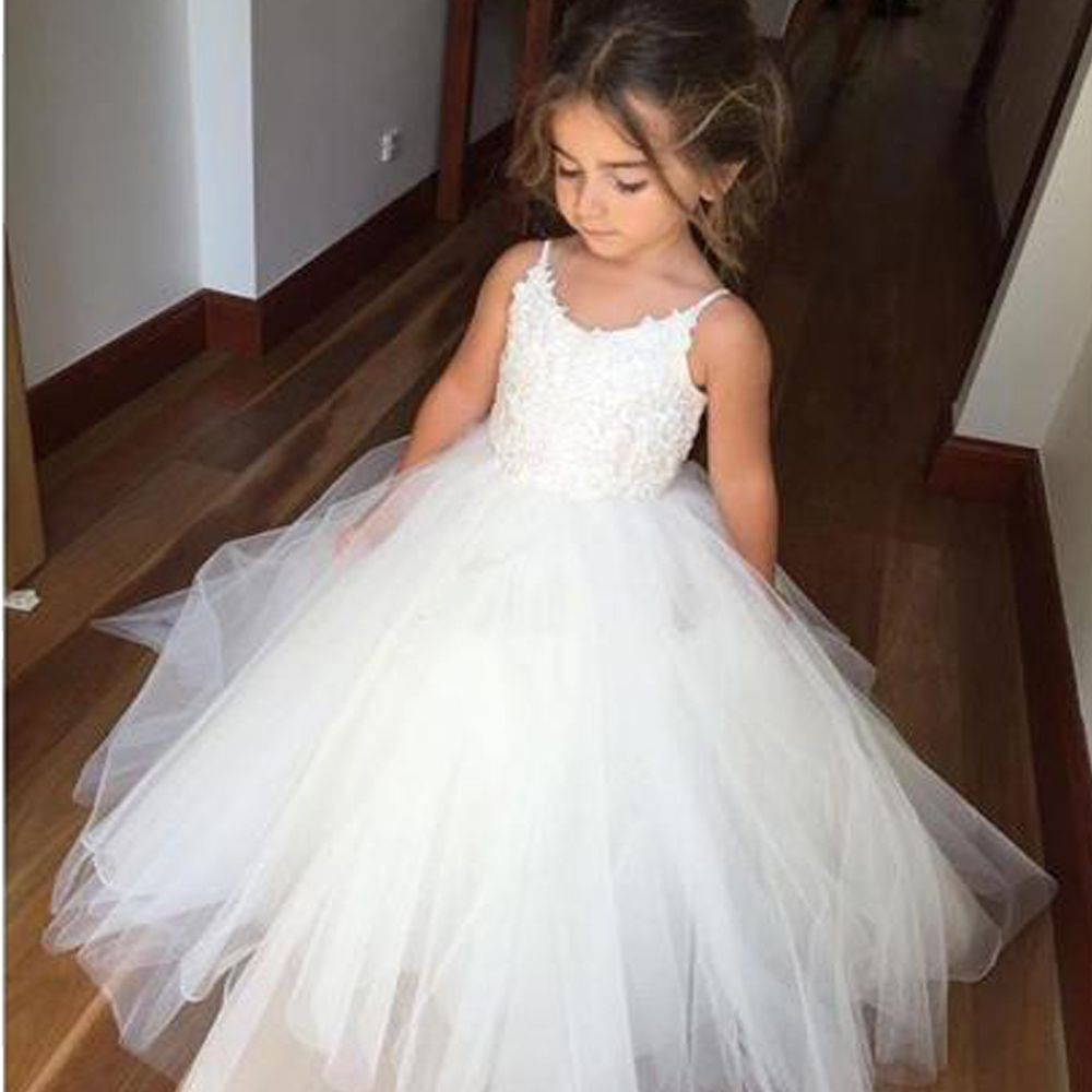 Vestido de daminha 2019 First Communion   Dresses   for   Girls   Sleeveless Ball Gown Lace Appliques   Flower     Girl     Dresses   for Weddings