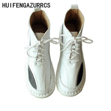 HUIFENGAZURRCS-New and modern Genuine leather boots, Pure handmade autumn retro ankle fashion women Martin boots