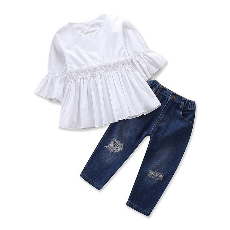 Fashion Girl Clothes  White Half Sleeve Shirt + Jeans Clothing Sets  Baby Girl Set Kids 2 Pcs for Toddler Girls