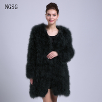 NGSG Real Fur Coat Women's Coat Ostrich Female 90CM Length 4XL Plus Size For Young Lady Spring Pink Purple Real Fur C003