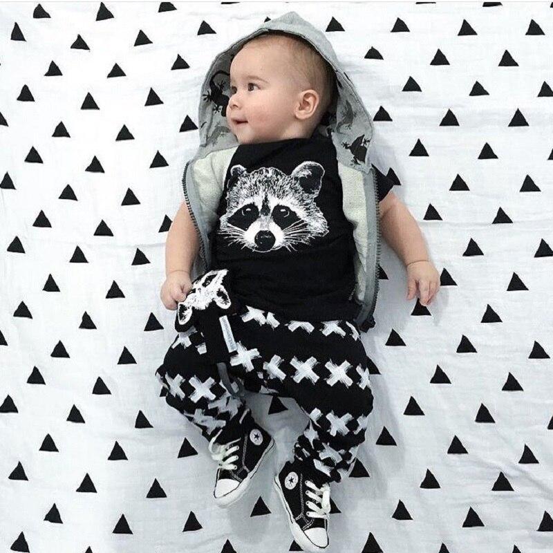Nuevo Otoño Verano Ropa de bebé Niños de manga corta Gary Fox Niñas Conjunto casual Ropa de bebé