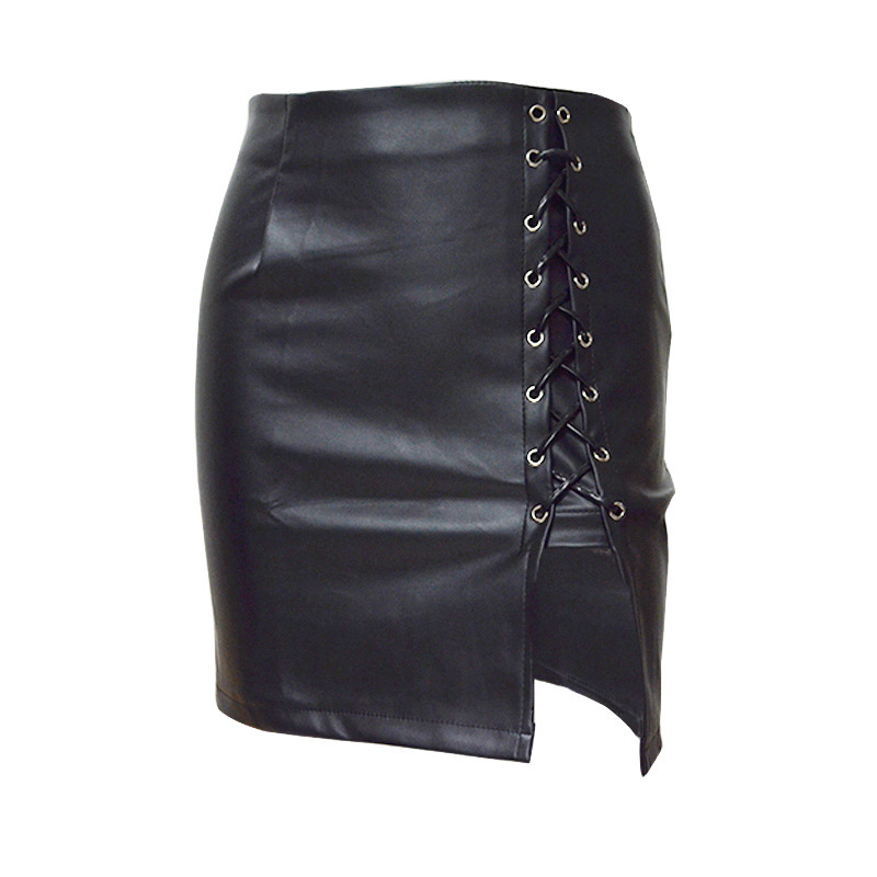 Summer popular European and American fashion personality new sexy leather black tight bandage high waist female skirt in Skirts from Women 39 s Clothing