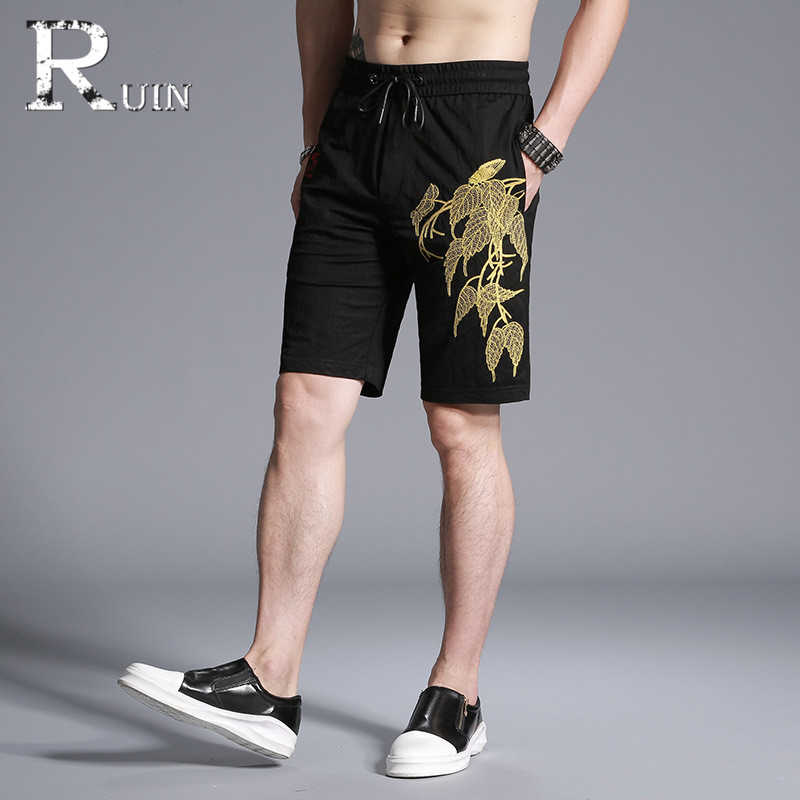 c6bac05eff 2018 Hand embroidery shorts men clothing Men's casual sweatpants summer  Upscale shorts male joggers 826-2