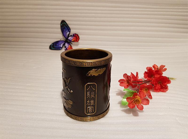 Vintage Chinese style bronze pen holder (2)