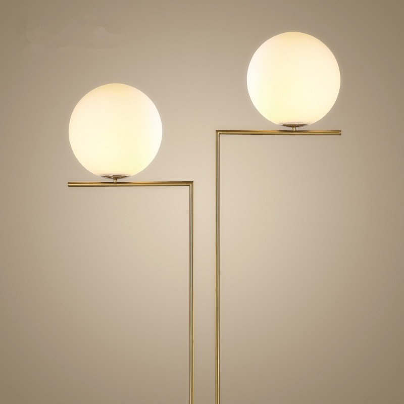 Modern creative glass lampshade led floor lamp gold stand for Lampade da studio a led