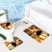 3pcs Bath Mat Sets Beach Alm Tree Sunrise Pattern Bathroom Mat Anti Slip Toilet Mat Soft