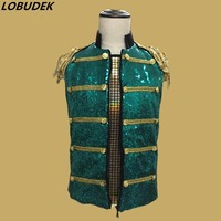 Gold tassels tide male vest bright green sequins slim Vest outfit Punk style men singer nightlcub Bar jazz performance waistcoat