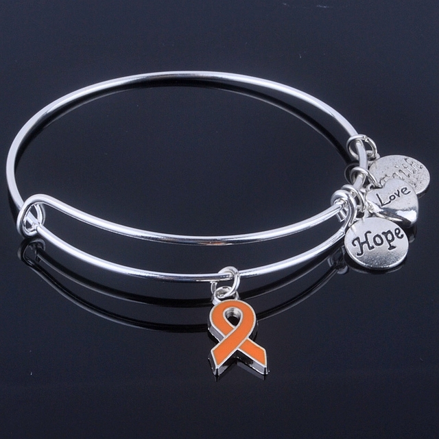 Adjustable Breast Cancer Ribbon Bangles with Hope Love Faith Charms