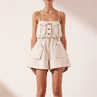 New Sexy Strap Romper For Women Button Design 2019 Summer Ladies Cotton Playsuits Short Bodysuits Slim Pockets Beach Jumpsuits