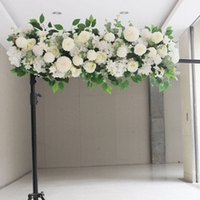 50cm Length Silk Flower with Foam DIY Arch Flower Row Acanthosphere Rose Peony Mix Flower for Wedding Backdrop Decoration