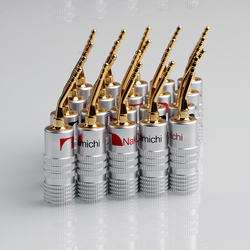 8PCS 2mm Banana Plug Nakamichi Gold Plated Speaker Cable Pin Angel Wire Screws Lock Connector For Musical HiFi Audio