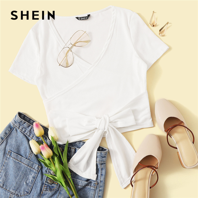 SHEIN Sexy White Deep V Neck Crop Wrap Belted Slim Fitted Top Solid T Shirt Women Summer Elegant 2019 Short Sleeve Tshirt Tops 5