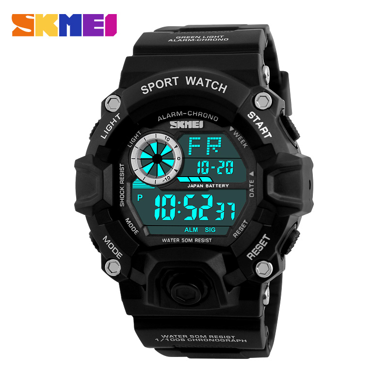 <font><b>SKMEI</b></font> Military Sports Watches Men Alarm 50M Waterproof Watch LED Back Light Shock Digital Wristwatches Relogio Masculino image