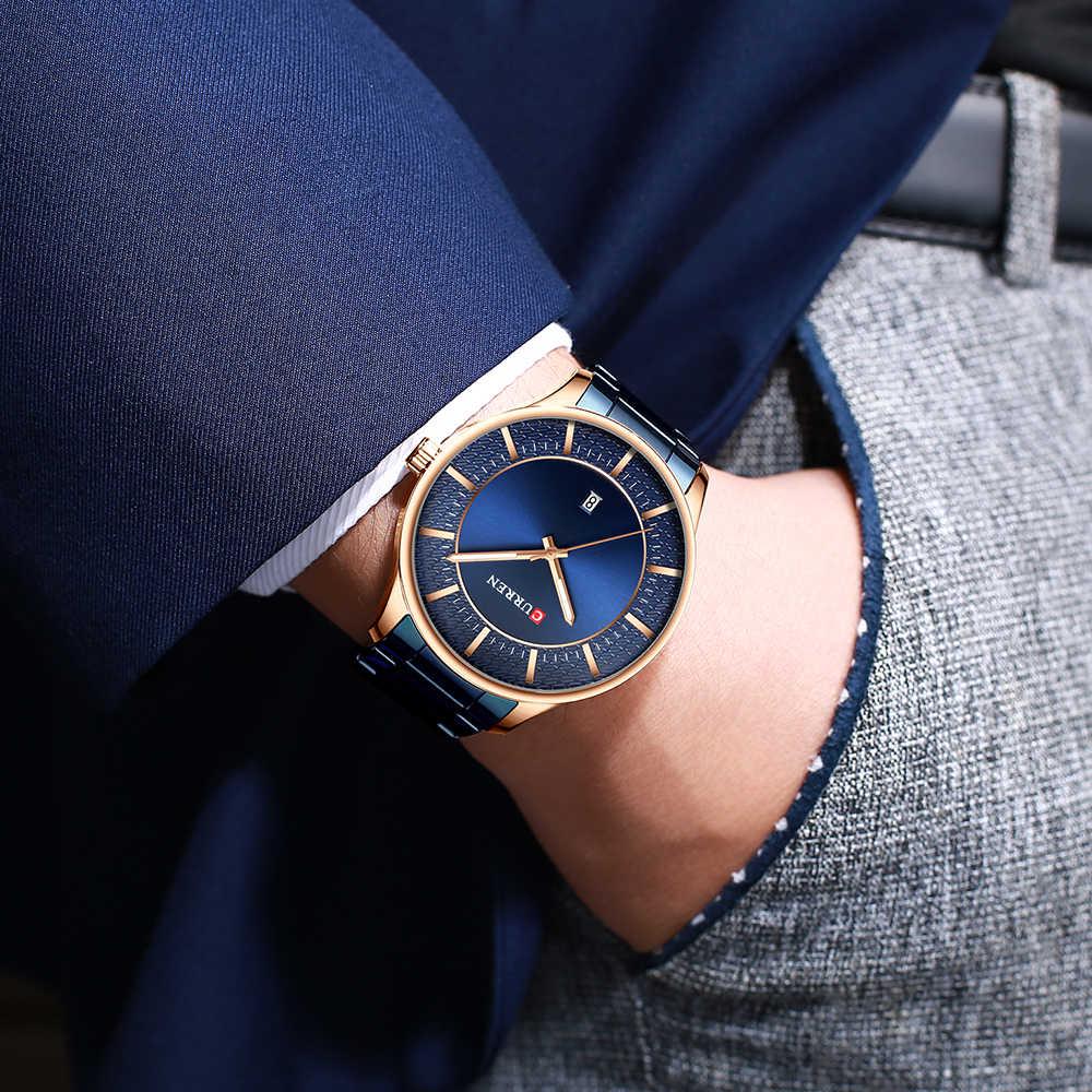 CURREN למעלה מותג גבר שעונים שעון גבר האופנה קוורץ שעונים עסקי גברים פלדת שעוני יד עם תאריך קלאסי שחור זכר