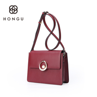 HONGU Fashion Brand Natural Cow Leather Messenger Shoulder Chest Bag Women School Bag For Teenagers Girls Functional Storage Bag