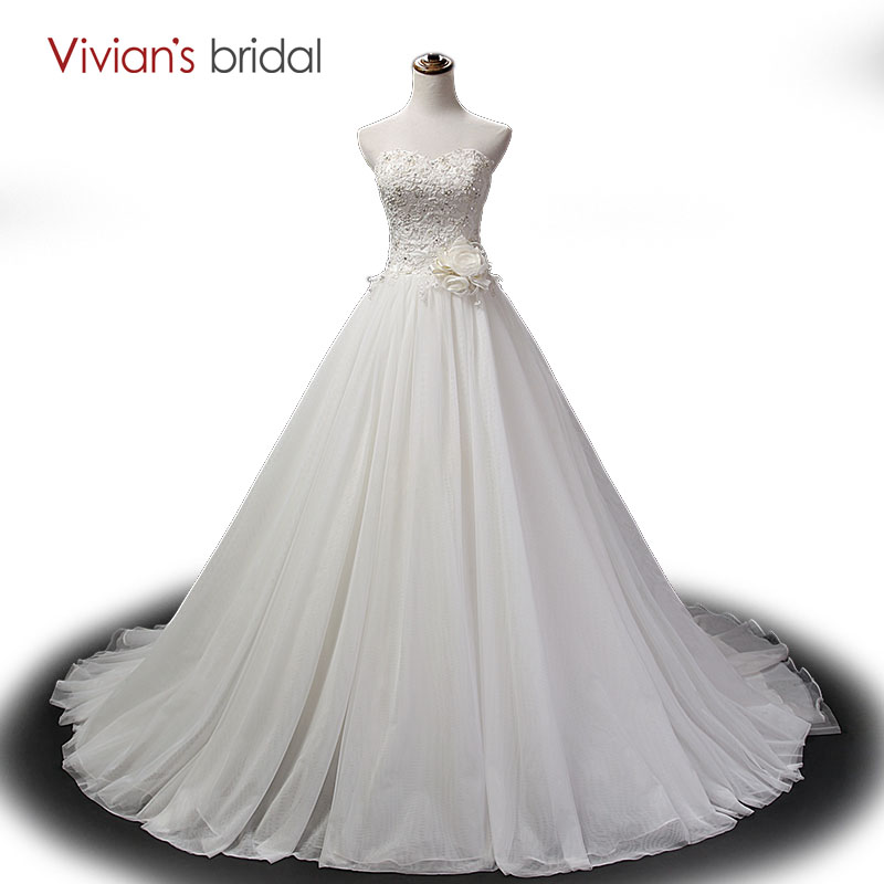 Vivian\'s Bridal Beaded Sequin Tulle Lace A Line Wedding Dress ...