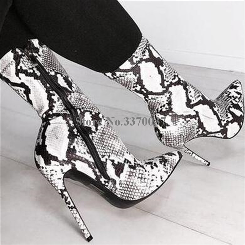 172f60435 Women Top Sexy Fashion Pointed Toe Snake Leather Stiletto Heel Short Boots  White Snake High Heel Ankle Booties Dress Shoes