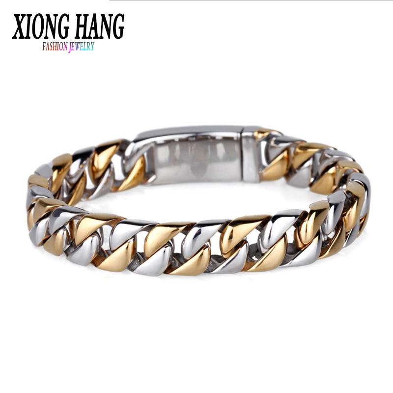 XiongHang Fashion New Link Chain Stainless Steel Bracelet Men Heavy 12MM Wide Mens Bracelets 2018 Bicycle Chain Wristband punk link chain mens womens bracelets chains fashion jewelry charm bracelets wristband bracelets