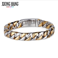 XiongHang Fashion New Link Chain Stainless Steel Bracelet Men Heavy 12MM Wide Mens Bracelets 2018 Bicycle Chain Wristband