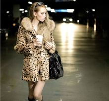 Hot-selling New winter Korean faux fur coat,Thick warm leopard trench coats Sexy luxury female overcoat, Plus size S~3XL