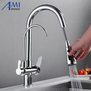 Image 5 - Messing Keukenkraan Pull Out Mixer Swivel Drinkwater 3 Way Water Filter Purifier Keuken Kranen Voor Gootstenen Kranen 9139SE