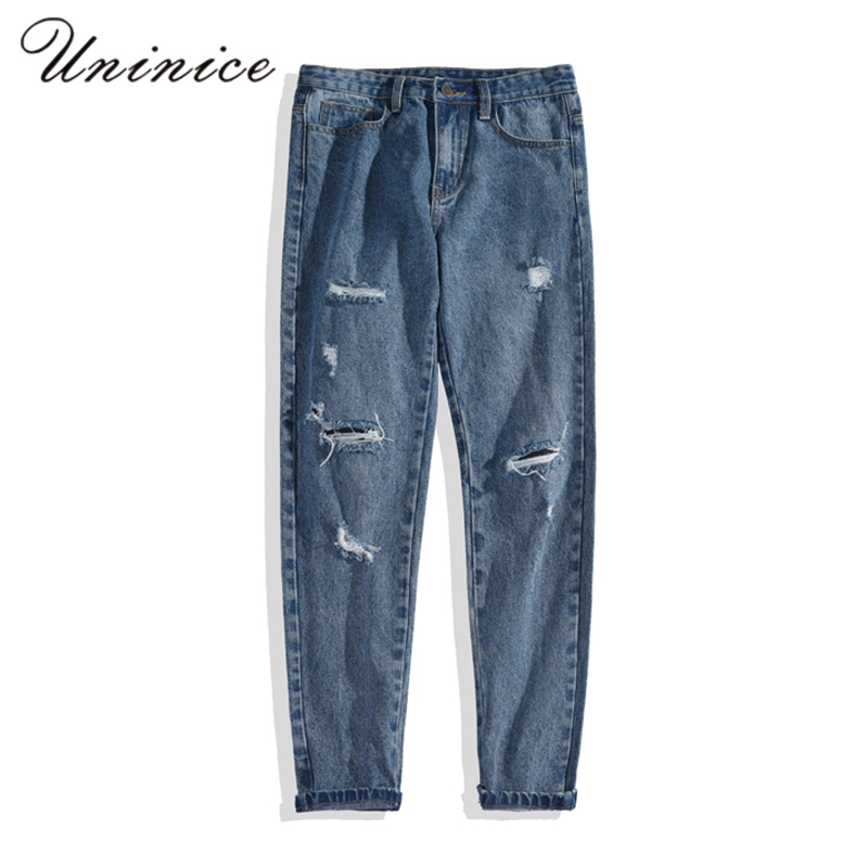 Autumn winter jeans mens patch wash pants hole pencil jeans trousers man teenager scratched loose punk hip hop denim jeans pant